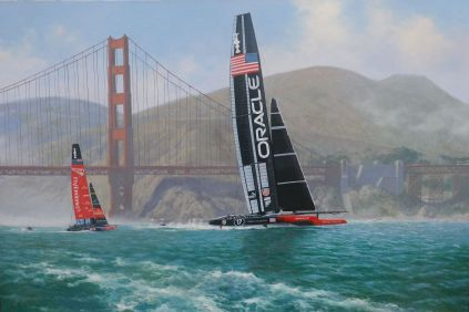 this is an Americas cup painting of Oracle AC72 2013 winner of America's Cup, 24x36 <i>Americas Cup Painting </i>